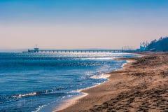 布尔加斯海滩和桥梁  库存照片