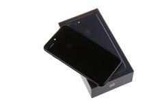 布尔加斯,保加利亚- 2016年12月29日:新苹果计算机iPhone 7正乌黑,后部,隔绝在白色背景 免版税库存照片