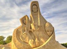 布尔加斯,保加利亚- 10月04 :铺沙2015年10月04日的雕塑在布尔加斯,保加利亚 免版税库存照片
