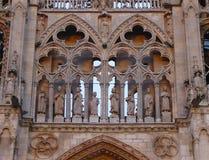 布尔戈斯西班牙语圣玛丽大教堂的门面的细节:Catedral de圣诞老人Mari? ¿ ½ de布尔戈斯 布尔戈斯 西班牙 免版税库存图片
