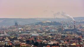 布尔诺市` s古老教会、城堡Spilberk和佩特罗夫的象 捷克共和国欧洲 免版税库存照片