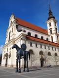 布尔诺,捷克共和国, 2017年4月16日, :边疆伯爵Jost雕象在布尔诺,南摩拉维亚,捷克共和国 免版税库存照片