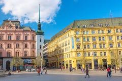 布尔诺,捷克- 2018年4月:布尔诺自由正方形老镇在春天 摩拉维亚地区,捷克的首都 免版税图库摄影