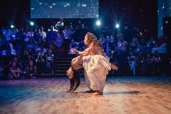 布尔诺,捷克- 2017年9月30日:由有天才的舞蹈家的巴西舞蹈展示 库存图片