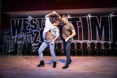 布尔诺,捷克- 2018年2月3日:由有天才的舞蹈家的巴西舞蹈展示 免版税库存照片