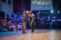 布尔诺,捷克- 2017年9月30日:由有天才的舞蹈家的巴西舞蹈展示 免版税库存照片