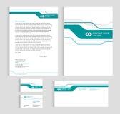 布局模板大小A4盖子、页名片和信件-绿线锋利的抽象传染媒介布景 皇族释放例证