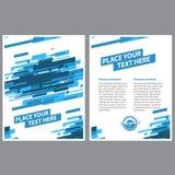 布局海报模板设计与抽象蓝线的 免版税库存照片