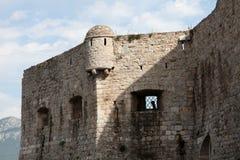布德瓦市墙壁,黑山 免版税库存照片