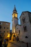 布德瓦老镇在日落的黑山 免版税库存照片