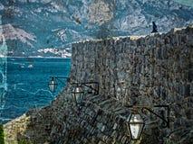 布德瓦,黑山老镇的老照片机智堡垒  免版税库存照片