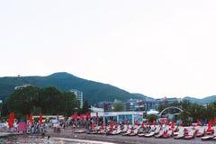 布德瓦,黑山- 2016年6月11日:Tre canne旅馆 库存图片