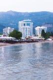 布德瓦,黑山- 2016年6月11日:Tre canne旅馆 图库摄影