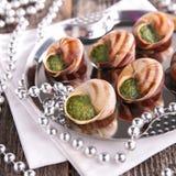 布戈尼蜗牛,法国美食术 免版税库存图片