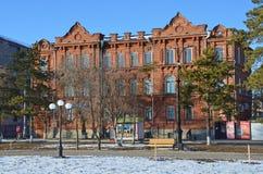 布拉戈维申斯克,俄罗斯, 2017年10月, 21日 在Krasnoflotskaya街道上的房子号码135 在1896年Anisim Egorovich卢基扬诺夫旅馆  库存图片