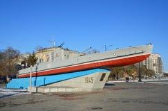 布拉戈维申斯克,俄罗斯, 2017年10月, 21日 对黑龙江小舰队的水手的纪念碑 免版税库存照片