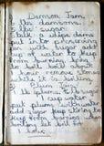 布拉斯李子和李子果酱的老食谱 免版税库存照片