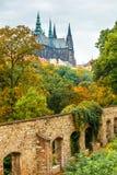 布拉格与圣徒vitus大教堂的秋天风景 免版税库存照片