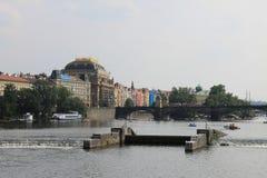 布拉格和伏尔塔瓦河河,捷克全景  库存图片