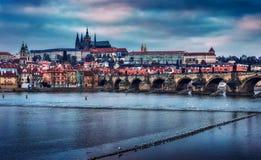 布拉格在冬天-捷克 免版税库存图片
