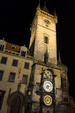 布拉格在晚上被打开的Orloj 免版税库存图片