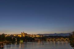 布拉格在晚上,捷克共和国 免版税库存照片