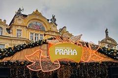 布拉格在老镇中心的圣诞节市场 免版税图库摄影