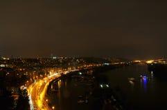 布拉格地平线在晚上 库存图片
