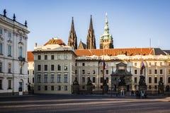 布拉格城堡和哥特式圣Vitus大教堂在布拉格 库存照片