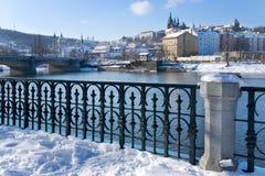 布拉格城堡和Moldau河,布拉格(联合国科教文组织),捷克共和国 库存照片