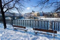 布拉格城堡和Moldau河,布拉格(联合国科教文组织),捷克共和国 库存图片