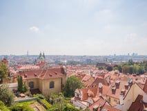 布拉格夏日城市的全景 捷克语 库存图片