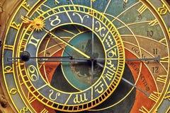 布拉格天文学时钟正面图细节  免版税库存图片