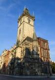 布拉格天文学时钟,位于其中一个城镇厅的塔,早晨 库存图片
