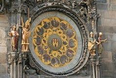布拉格天文学时钟(布拉格Orloj)在老镇香港大会堂,布拉格,捷克墙壁上  库存图片