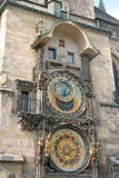 布拉格天文学时钟(布拉格Orloj)在老镇香港大会堂,布拉格,捷克墙壁上  图库摄影