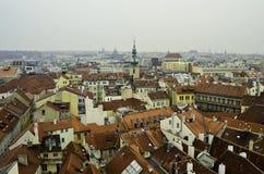 布拉格屋顶顶视图  免版税库存照片