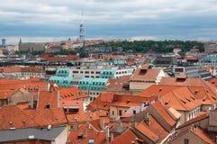 布拉格屋顶s视图 免版税图库摄影