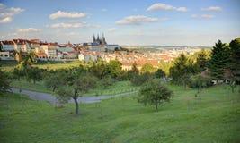 布拉格市在与布拉格城堡的蓝色晴朗的天空下和在左边的圣Vitus大教堂一幅全景  免版税库存照片