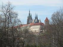 布拉格春天 城堡视图 库存照片