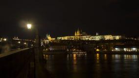 布拉格是捷克的首都 在城堡的风景夜 图库摄影