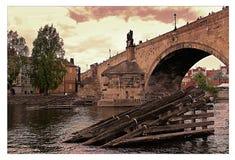 布拉格查尔斯桥梁 库存照片