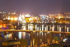 布拉格桥梁夜视图  库存照片