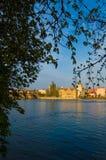 布拉格江边 库存照片