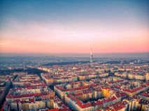 布拉格电视塔鸟瞰图  库存图片