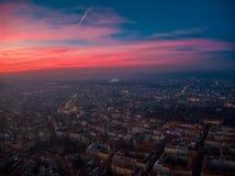 布拉格电视塔鸟瞰图  库存照片