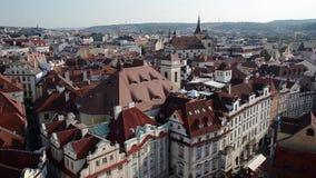 布拉格的老镇中心屋顶的顶视图  股票录像
