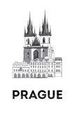布拉格老镇中心剪影  库存照片