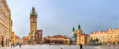 布拉格老镇中心的全景 免版税库存图片