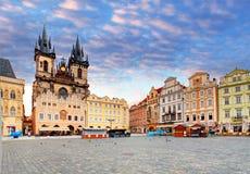 布拉格老镇中心, Tyn大教堂 免版税图库摄影